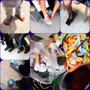 photo collage of shoed feet